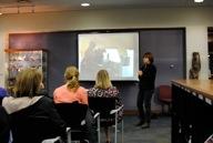 Lisa Orr giving presentation on Artstream Ceramic Library @ UT Austin