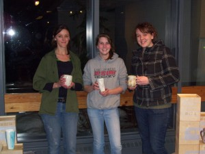 CSU Pottery Guild members with their cups. . .